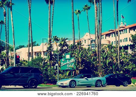 Beverly Hills, Ca, Usa - November 02, 2016: Cars Passing By Beverly Hills Hotel