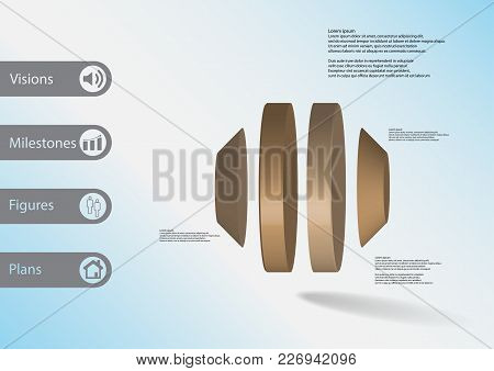 3d Illustration Infographic Template With Motif Of Round Cone Vertically Divided To Four Color Parts