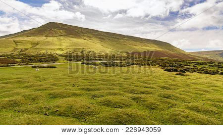View Over The Landscape Of The Brecon Beacons National Park With Hay Bluff, Seen From The Car Park N