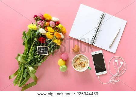 Festive Morning Buttercup Flowers Ranunculus With Note Good Morning, Cup Of Cappuccino, Cake Makaron