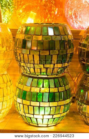 Set Of Colorful Ottoman Style Mosaic  Lamps