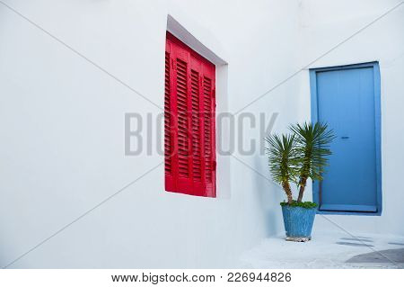 Red Wooden Window And Cyan Blue Door At White Door With Little Palm Tree Inside A Metal Water Bucket