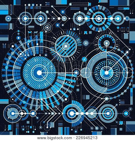 Technical Drawing With Dashed Lines And Geometric Shapes, Vector Futuristic Technology Engineering D