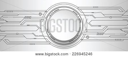 Abstract Futuristic High Computer Technology. Gray Color Background. Vector Illustration.