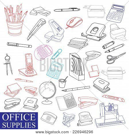 Accessories To Office, For The Manager, The Secretary, The Office Worker. The Drawn Sketches For Adv