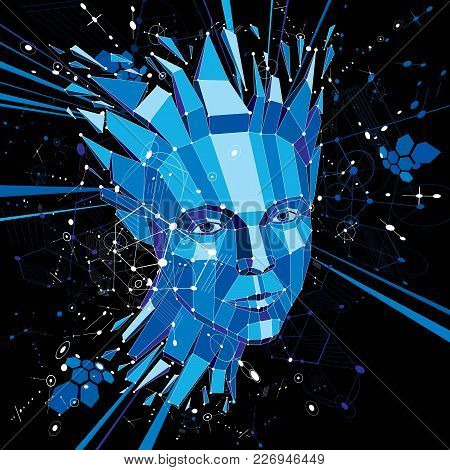 Artificial Intelligence Head, Low Poly Style 3d Vector Wireframe Shattered Object. Modernistic Backg