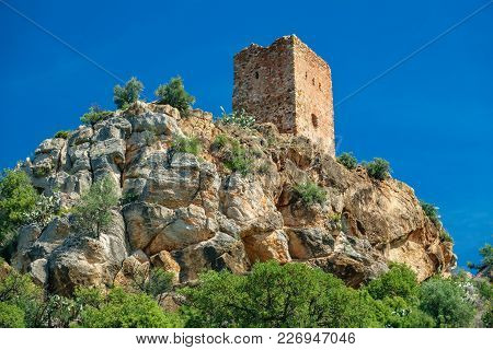 Long Shot Of Almenara Village Tower On Top Of The Hill