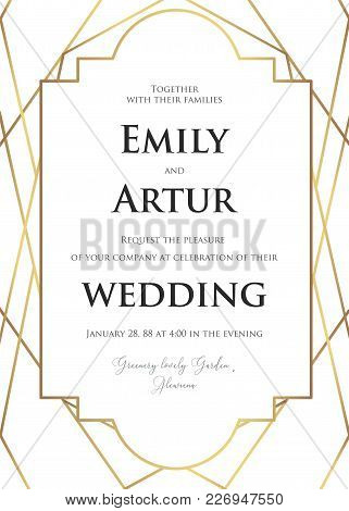 Wedding Invite, Invitation Save The Date Card Delicate Design With Elegant Vector Golden Foil Geomet