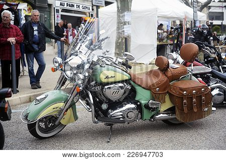 Beaucaire, France - April 30, 2016: An Indian Motorcycle To A Gathering Of American Motorcycle In Th