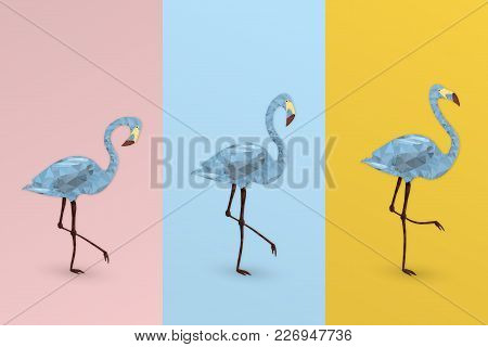 Summertime. Good Vibes With Geometric Flamingos In Trendy Pastel Colors.