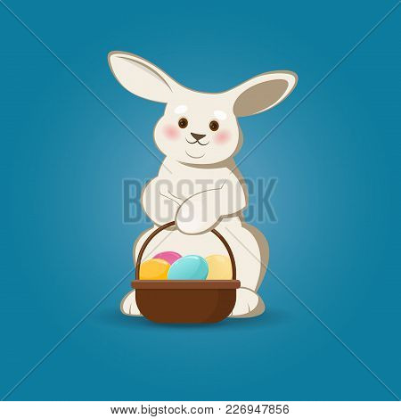 Vector Illustration Of Easter Bunny With Easter Eggs Basket On A Blue Background