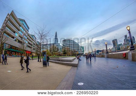 London, England - November 27, 2017: City View Of London On The Shore Of River Thames, With City Hal