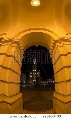 Novi Sad, Serbia - July 30, 2017: Night View Of The Liberty Square (trg. Slobode) With Mary Church A