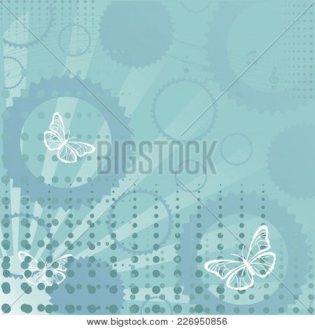 Green Back Ground With Butterflies And Circles