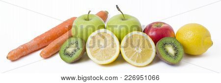 Panoramic View Of Fruit On White Background. Fruits On A White Background. Lemon With Apples And Kiw