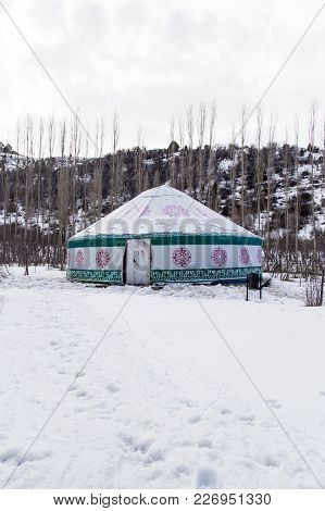 Kazakh Yurt Camping In The Winter . In The Park In Nature