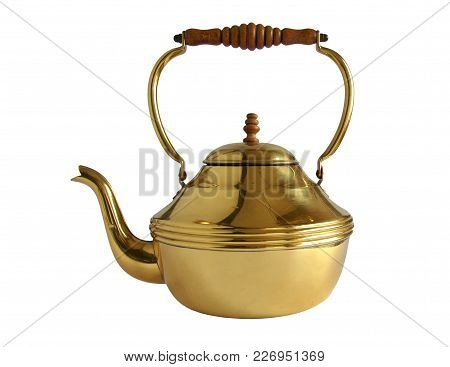 Vintage Brass Or Copper Kettle With Wooden Handle Isolated On White Background