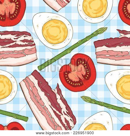 Breakfast Seamless Pattern With Halves Of Boiled Eggs, Bacon, Tomatoes And Asparagus On A Light Blue