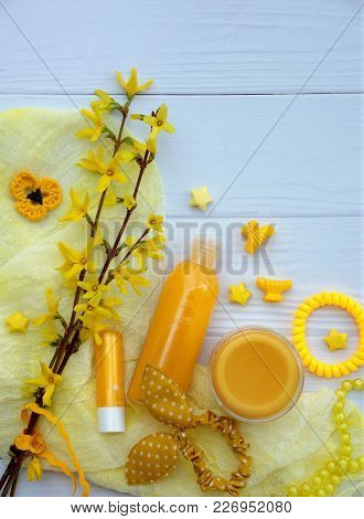 Set Of  Yellow Accessories For Young Girl Or Teenager. Nail Polishes, Lipstick, Hair Clips, Bands, B