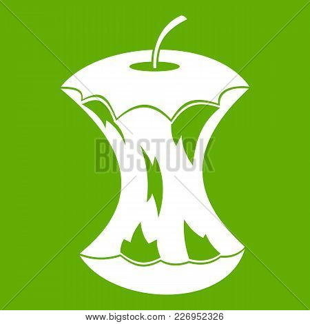 Apple Core Icon White Isolated On Green Background. Vector Illustration
