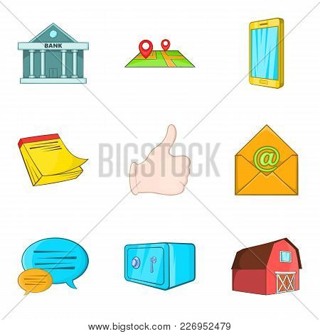 Realestate Icons Set. Cartoon Set Of 9 Realestate Vector Icons For Web Isolated On White Background