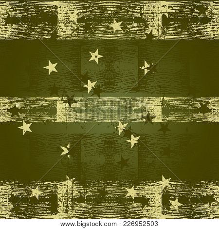 Green Grunge Texture With Asterisks Military Style