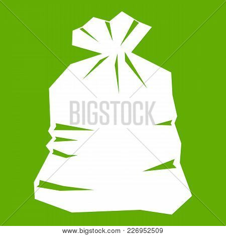 Garbage Bag Icon White Isolated On Green Background. Vector Illustration