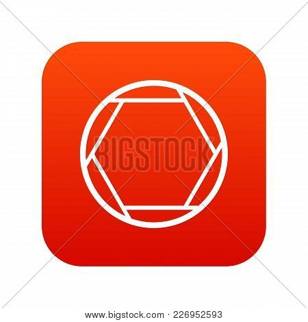 Closed Objective Icon Digital Red For Any Design Isolated On White Vector Illustration