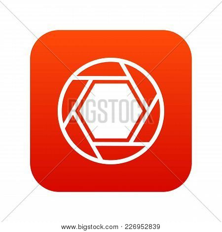 Close Objective Icon Digital Red For Any Design Isolated On White Vector Illustration