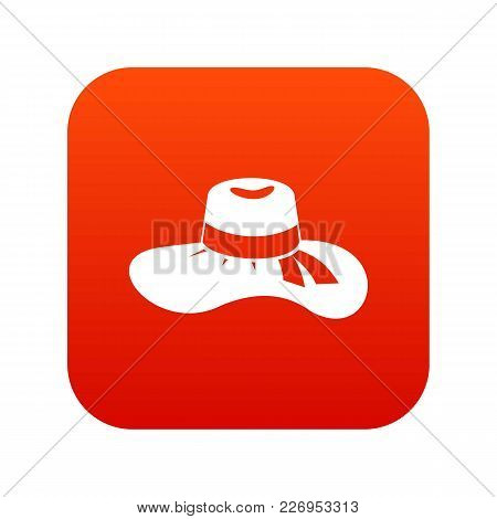 Woman Hat Icon Digital Red For Any Design Isolated On White Vector Illustration