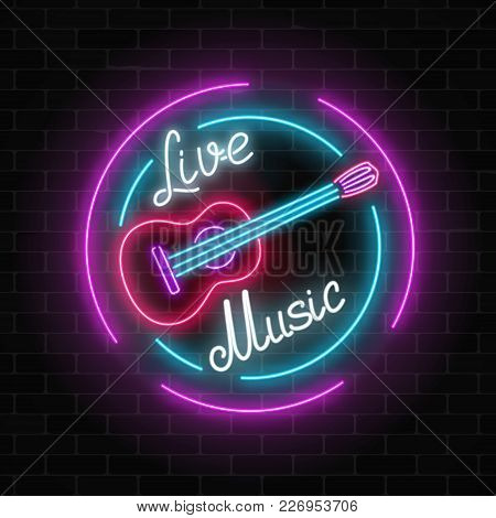Neon Sign Of Bar With Live Music On A Brick Wall Background. Advertising Glowing Signboard Of Sound
