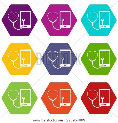 Phone Diagnosis Icon Set Many Color Hexahedron Isolated On White Vector Illustration