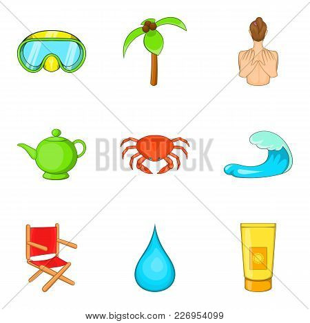 Active Recreation Icons Set. Cartoon Set Of 9 Active Recreation Vector Icons For Web Isolated On Whi