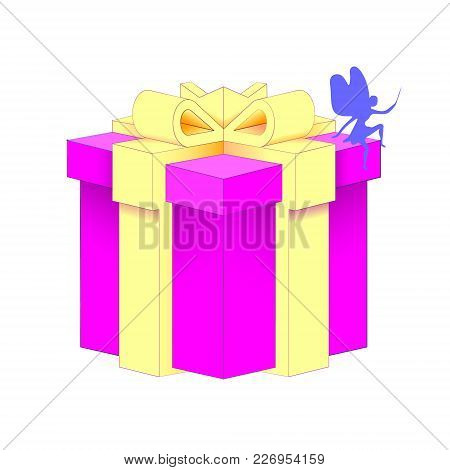 Realistic Volumetric Purple Gift Box With Ribbon For Birthday Celebration, Christmas, Party, Anniver