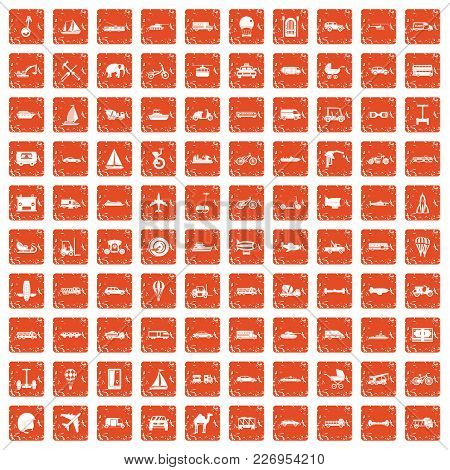 100 Transport Icons Set In Grunge Style Orange Color Isolated On White Background Vector Illustratio