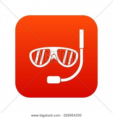 Swimming Mask Icon Digital Red For Any Design Isolated On White Vector Illustration