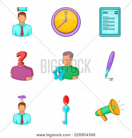 Recruitment Icons Set. Cartoon Set Of 9 Recruitment Vector Icons For Web Isolated On White Backgroun
