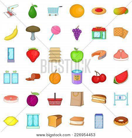 Ecologically Friendly Icons Set. Cartoon Set Of 36 Ecologically Friendly Vector Icons For Web Isolat