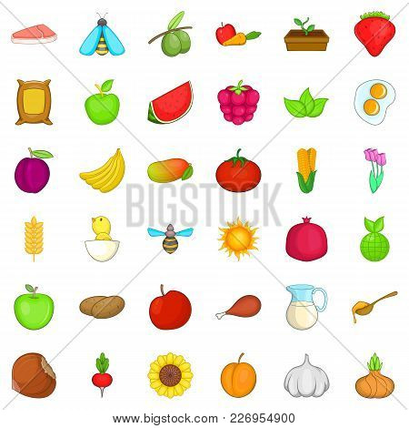 Foodstuff Icons Set. Cartoon Set Of 36 Foodstuff Vector Icons For Web Isolated On White Background
