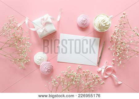 Invitation To A Wedding Or A Greeting With The Marriage, Christenings In White Pink Colors With A Sp