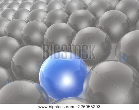 Blue And Grey Spheres As Abstract Background, 3d Illustration.