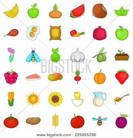 Comestible Icons Set. Cartoon Set Of 36 Comestible Vector Icons For Web Isolated On White Background