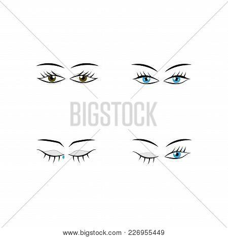 Eyes Woman Cartoon Set. Darling Isolated Icon. Fashion Graphic Design Flat Element. Modern Stylish A