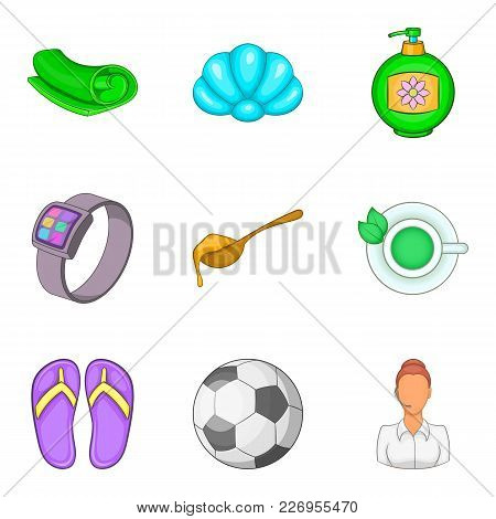 Slackness Icons Set. Cartoon Set Of 9 Slackness Vector Icons For Web Isolated On White Background