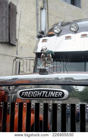 Beaucaire, France - April 30, 2016: Big Rich American Truck Personalized Presentation To A Gathering