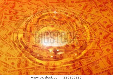 abstract image of paper dollars and patterns on the water