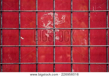 Dirty Red Window With Grey Grid For Background, Real Photo