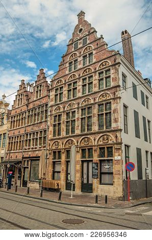 Ghent, Belgium - July 03, 2017. Facade Of Building In Flemish Architecture At Ghent. In Addition To