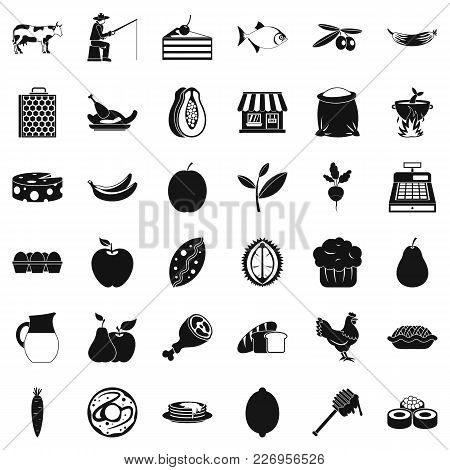 Collect Food Icons Set. Simple Set Of 36 Collect Food Vector Icons For Web Isolated On White Backgro