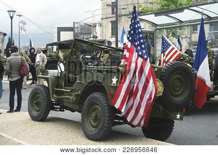Beaucaire, France - April 30, 2016: Military Vehicle Of The Last World War Exposed To A Gathering Of